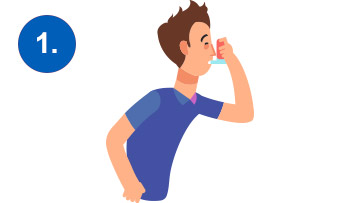 prvi korak u napadu astme, inhalacija pumpicom
