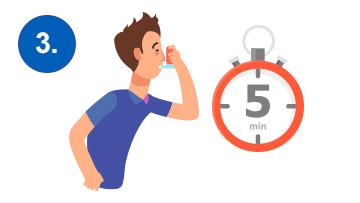 treci korak u napadu astme, inhacija pumpicom na svakih pet minuta